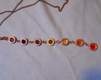 Necklace, long drop chakra