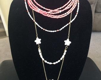 Multi Strand Ceramic & Pearl Necklace