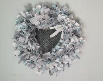 Silver, White and Aqua Rag wreath