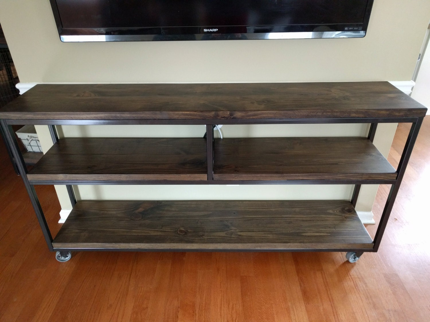 Industrial console table with caster wheels for Sofa table on wheels