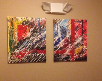 Abstract Acrylic paint set of 2 canvas