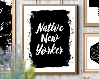"Typography poster ""NATIVE NEW YORKER"" quote New York home decor ny typography print typographic poster New York typography wall art"