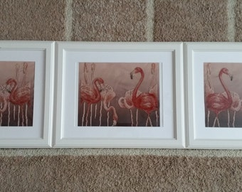 Flamingo trio. Embroidery with beads.