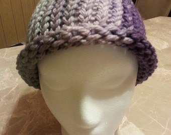 purple fade into light teal brimless adult knitted hat