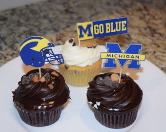 Cupcake toppers, party supplies, Michigan Wolverines, football, sports