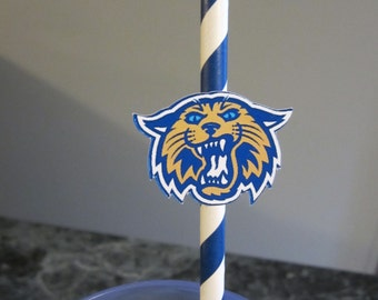 Party straws, paper straws, Villanova Wildcats, sports theme, basketball, college, NCAA, March Madness