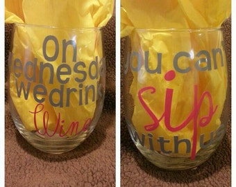 2 Stemless wine glasses