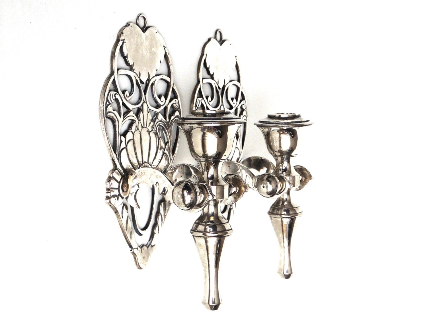 Silver Wall Sconces For Candles : Pair Antique Silver plated Brass Wall Sconces / candle holders