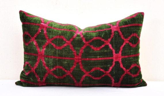 Green Velvet Pillow Cover-Velvet Throw Pillow-Velvet Ikat
