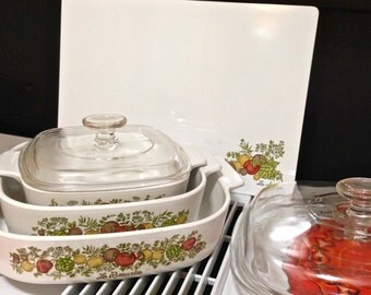 Corning Ware Spice of Life 7-piece Set with cutting board, 10x10x2, 2 quart, 1 quart, 1970s, 1980s