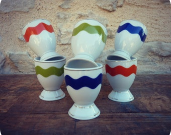 6 vintage graphic porcelain colored egg cups