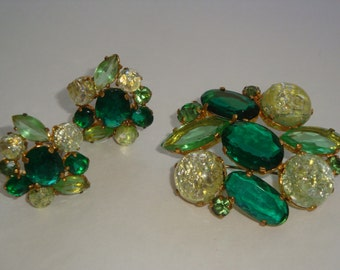 Vintage Emerald Peridot Saffon Green Brooch and Matching Earrings.