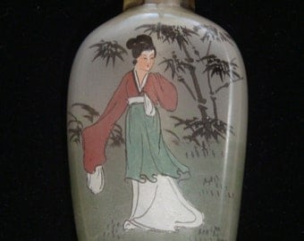 Antique Oriental Geisha Woman Reverse Painted Perfume Bottle with Stopper