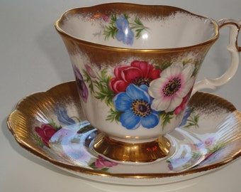Royal Albert Anemones Tea Cup and Saucer ~ Pattern #4460