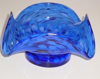 Blue Splatter Ruffled Dish ~ Murano??