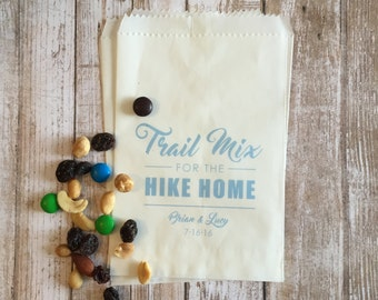 Trail Mix Wedding Favor Bags, Personalized Favor Bags, Custom Favor Bags, Glassine Bags
