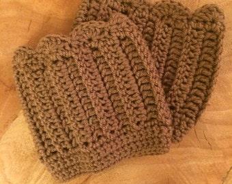 Caffe Brown Crochet Boot Cuffs