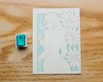 Flower Lady Original Drawing