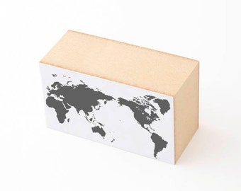 Nombre World Map Wood Rubber Stamp