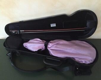 Violin bag- protective bag, recycled fabric- purple, mauve paisley