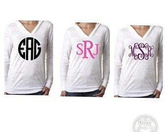 Monogrammed, monogram, monogrammed hoodie, monogrammed burnout hoodie, hoodie, monogrammed sweatshirt