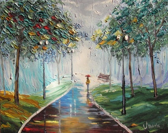 Original Oil Painting Walk in the Rain Park Cityscape Impasto Palette knife textured painting Girl Autumn Contemporary Art blue green grey