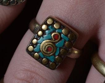 Turquoise and Coral Boho Dotted Ring
