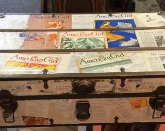 Antique Steamer Trunk with 1930's Girl Scout Decoupage Theme