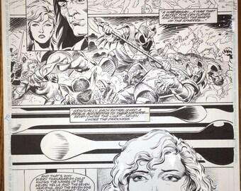 Hawkman 12 by Steve Lieber and Luke McDonnell original art.