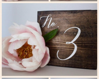 Rustic Wedding Double-Sided Table Numbers, Handpainted, Wood Table Numbers, Self-Standing Wood Table Numbers, Cursive