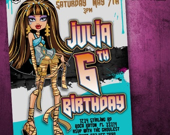 Monster High Birthday Invitation - Cleo De Nile Mummy Party - Ghoul Cleo