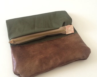Olive fold over zipper clutch