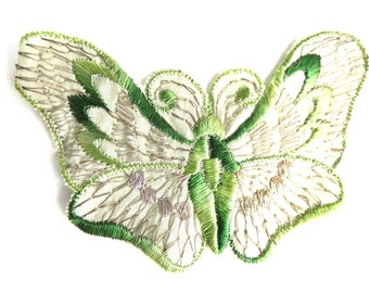 Butterfly applique, 1930s vintage embroidered applique. Vintage patch, sewing supply. Applique, Crazy quilt. #645GC8K15