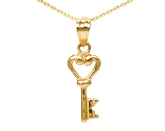 10k Yellow Gold Heart Key Necklace