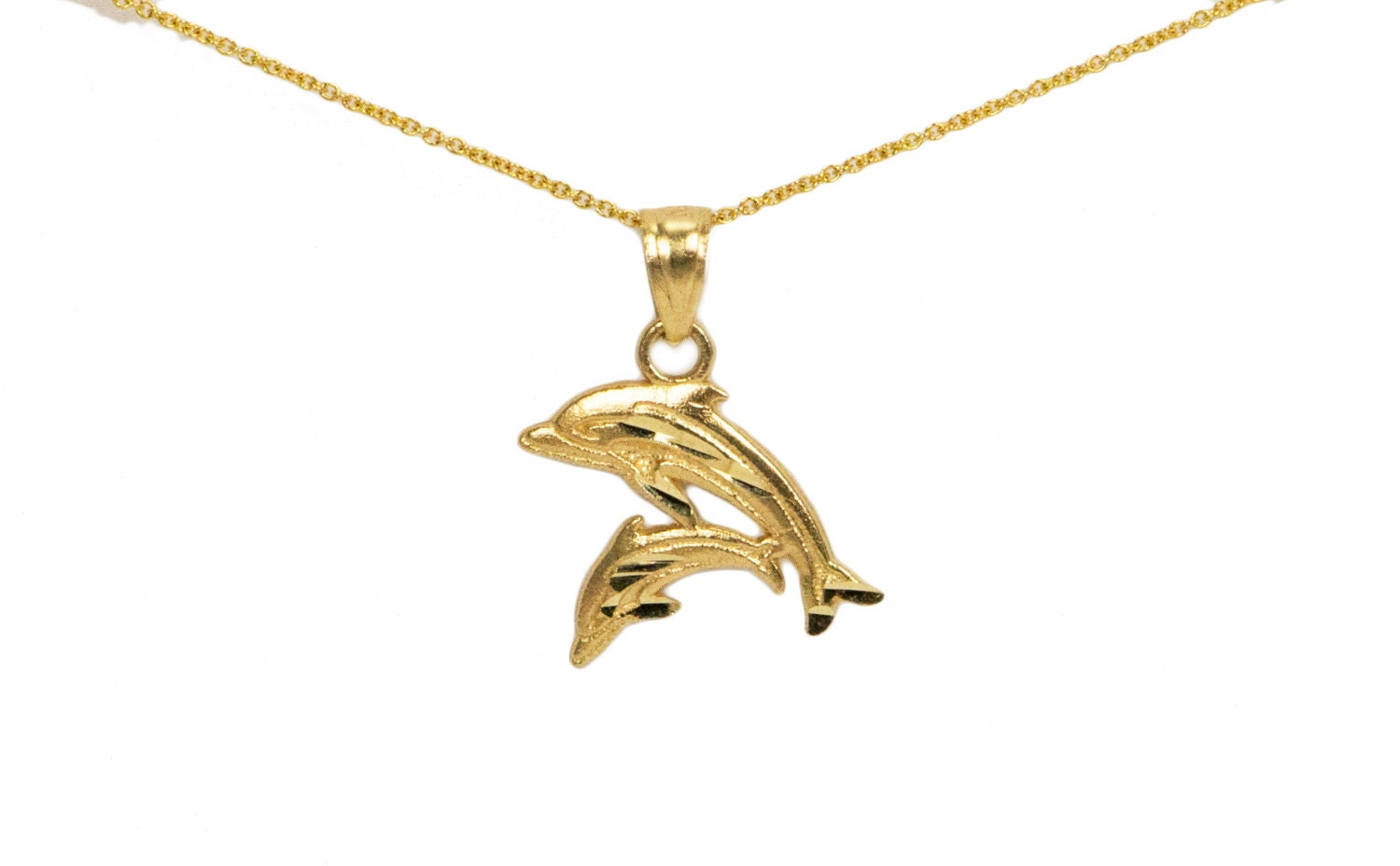 14k gold dolphin necklace dainty gold necklace gold dolphin