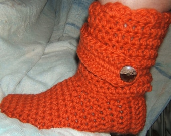 Crocheted Strap Boot Slippers:  Short- (1 strap), Tall- (2 straps)