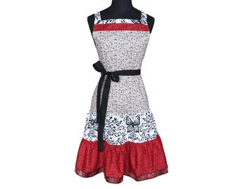 Retro Grey and Red Vintage Apron Cute Kitchen Apron Womens Apron