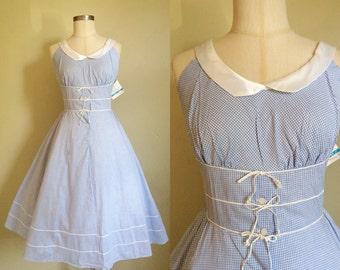 1950s Deadstock Blue Gingham Dress