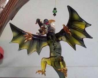 Hand Blown Green Glass Dragon