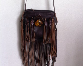 Real handmade crossbody bag from soft leather with elements of fashionable leather fringe with amber new women's maroon bag size-small.