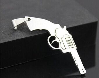 New Fashion Pistol Silver 316L Stainless Steel Titanium Pendant Necklace (EB00116)