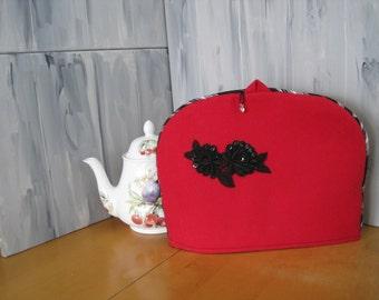 Tea cozy, tea cosie, tea cozie, wool fabric, cotton lining, embellishments,  Royal Albert tea pot, deep red wool, black white piping