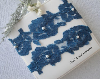 Blue Wedding Garter, Bridal Garter, Wedding Garter Set, Teal Blue Garter, Teal Wedding Garter, Lace Garter, Handmade Garter, Blue Garter Set