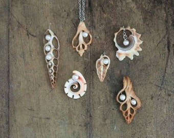 Shell and Pearl pendants