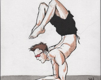 Heroic Yoga Watercolor - Scorpion Pose