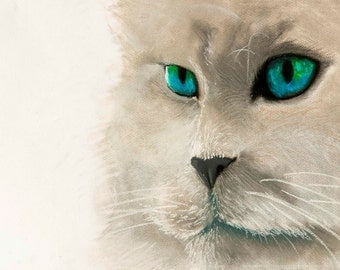 Beautiful white cat.Instant download.JPG and TIFF files for printing an original pastel painting.