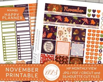 NOVEMBER Happy Planner, November Monthly Kit, Mambi November, November Planner, Printable Monthly Stickers, Autumn Planner, HPMV109