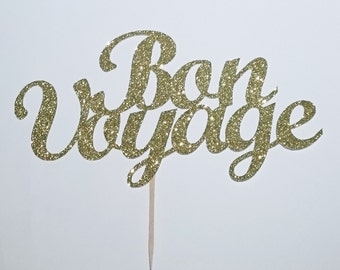 Bon Voyage topper, Farewell, Bon voyage, Gold glitter topper,Special occasion banner,we will miss you topper,farewell decor,bon voyage party