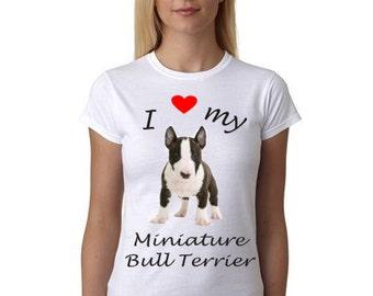Miniature Bull Terrier shirt - Shirt with Miniature Bull Terrier picture - I Heart My Miniature Bull Terrier shirt