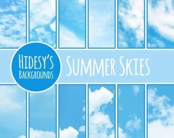 Cloudy Skies Digital Paper // Clouds Scrapbooking Paper // Blue Sky Digital Scrapbooking Paper // Cloud Backgorunds // Blue Skies